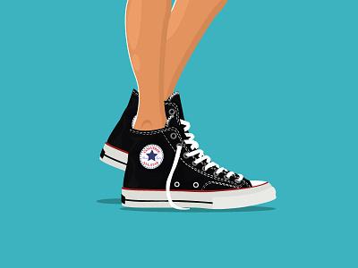 Shoe shot illustration minmal blue sneakers converse vector ui design illustrator shoes