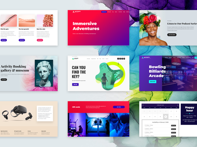 Activity Booking WordPress Theme podcast arcade adventure vr exhibition attraction club art activity fun colorful entertainment games booking system gallery museum virtual reality billiards bowling escape room