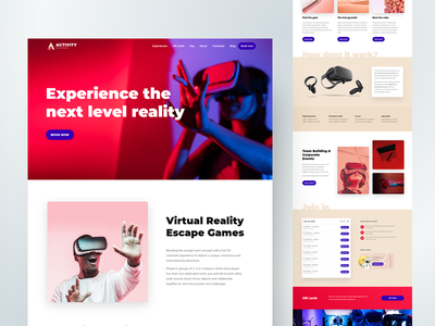 Virtual Reality WordPress Theme website design 2020 trend website concept modern design web design webdesign home wordpress theme colorful elementor booking system homepage games escape room landing page wordpress cobalt booking activity virtual reality