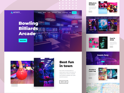 Bowling, Billiards & Arcade WordPress Theme wordpress homepage website concept website design landing page creative design colorful neon tickets ticket booking event party club bar laser tag pinball arcade billiards bowling games
