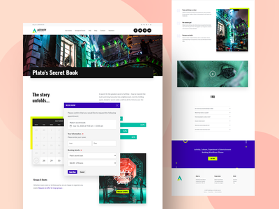 Escape Rooms Booking WordPress Theme entertainment wordpress themes colorful 2020 trend elementor cobalt creative design neon ux webdesign wordpress theme website concept website design events ticket booking tickets booking system activity games escape room