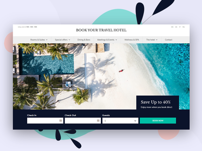 Hotel Booking WordPress Theme homepage flat concept uxui booking calendar search rooms room booking beach travelling themeforest booking system hotel branding hotel website hotel booking hotel travel wordpress theme wordpress