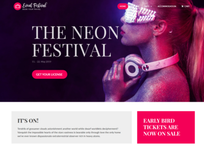 Event & Festival WordPress Theme neon colors neon pink festive envato website concept landing page homepage themeforest wordpress theme wordpress ecommerce booking system camping hotel booking ticket ticket booking event branding festival event