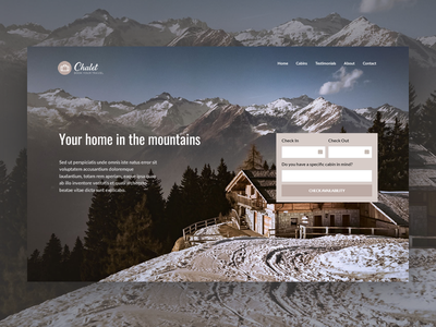 Chalet Landing Page minimal neutral inn guesthouse room booking hotel booking tourism winter holiday vacation vacation rental house cabin chalet mountain travel booking wordpress theme booking system wordpress