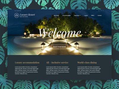 Luxury Hotel WordPress Theme tourism interaction design interactive wordpress theme booking system hotel website website concept homepage landing page tropical leaves tropical gold dark room booking rooms hotel branding hotel booking hotel