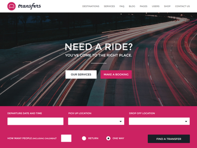 Transfers - Transport and Car Hire WordPress Theme ux  ui corporate ecommerce car rental pink passenger booking app transportation landing page car booking car wordpress theme booking booking system charter helicopter bus shuttle transport transfer