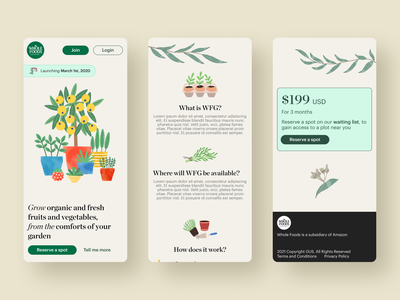 Whole Foods Market - Grow your own food mobile ui figma vegetables fruits grow