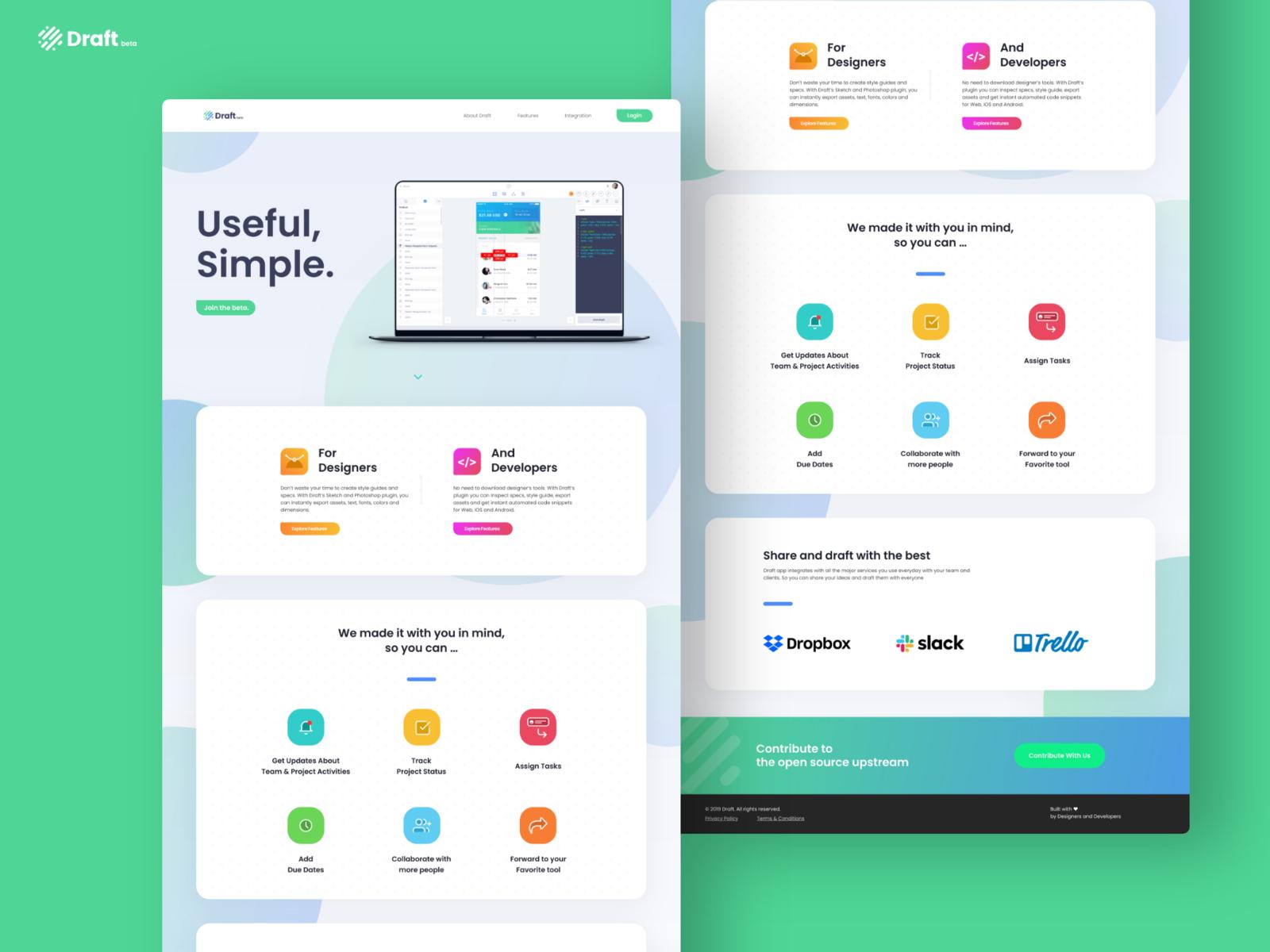 Draft App - Easy Design and Development Tool Landing! by