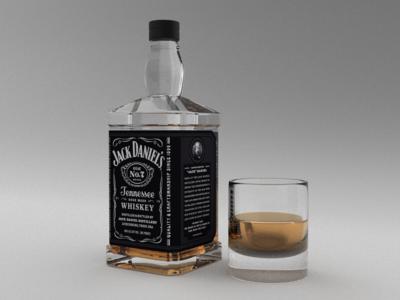 3D model whiskey visualization blender alcohol bottle 3d model