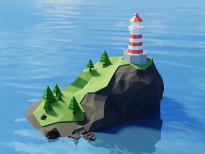 Low poly lighthouse sea blender 3d low poly