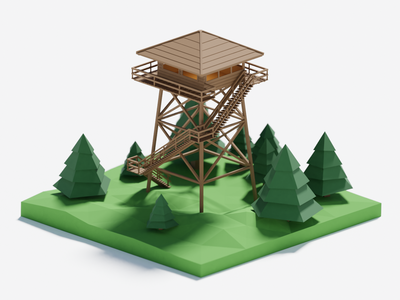 Low poly firewatch tower game model firewatch low poly art low poly 3d model blender 3d