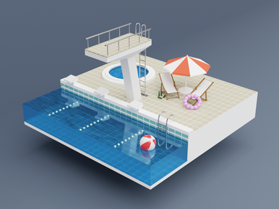 Low poly swimming pool low poly 3d model blender 3d