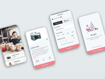 eCommerce simple flow uiapp app ui pink flow ecommerce
