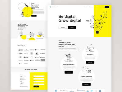 Colorsfera Website design minimal interface uidesign ui homepage landingpage landing marketing services yellow illustrations illustration agency responsive web design responsive web webdesign