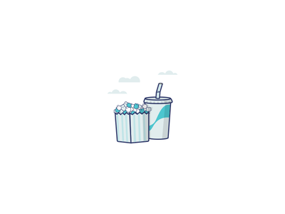 Entertainment pop corn sky movie cinema soda entertainment blue illustration icon
