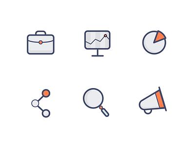 Marketing Icons social media share graphics sem icons seo marketing