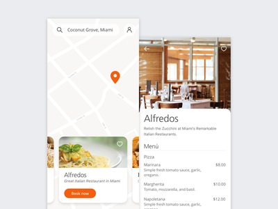 Map daily ui cards pasta italian food orange menu restaurant ui map