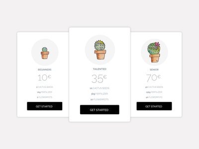 Pricing ux ui price illustration dailyui watercolor cactus pricing