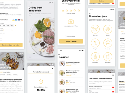 Loffel: Recipes market recipe kitchen food eat veggie gourmet yellow appdesign ux interface ui