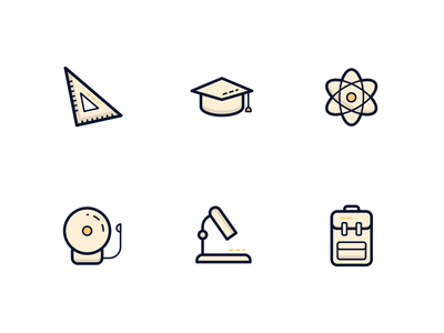 Education icons education icons school icons ui illustration education school icons