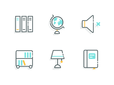 Library Icons educational illustration ui library education icons