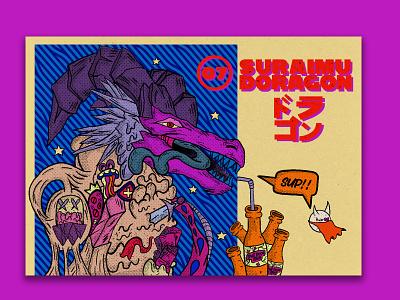 Slime Dragon ☯🈹 retro chillwave handdrawn halftone digitalart branding vintage texture colorful illustration doodles design