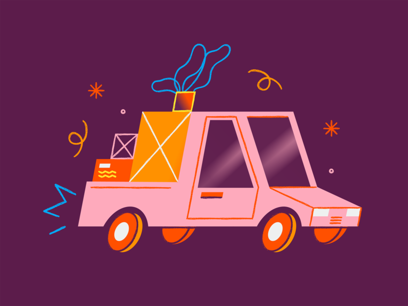 Delivery web illustration car delivery app ill texture vector illustration design