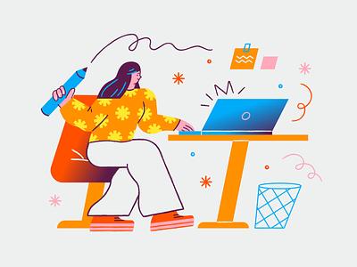Workflow laptop mobile design workflow freelance web illustration app illustration workspace character design character illustration