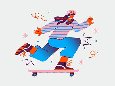 Skateboard Time web illustration app illustration sketch girls skater skateboard vector texture flat character design character illustration design