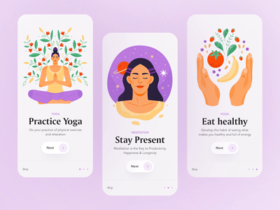 Yoga/Wellness app illustrations good food food meditation wellness yoga app yoga app illustration onboarding ui onboarding ui illustration motion animation web illustration vector flat character design character illustration design