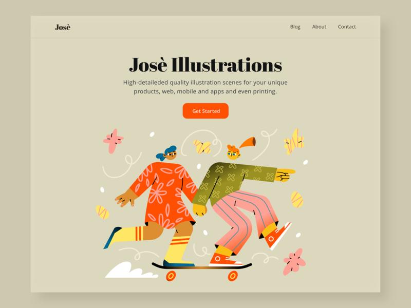 Jose Illustration Pack app ui app illustration ui illustration web illustration flat vector character design character illustration design