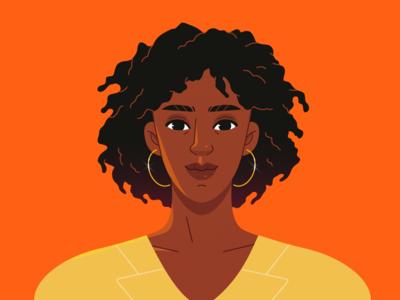 Black woman portrait female afro illustrator vector illustration vector portrait woman power woman black woman black vector character design character illustration design