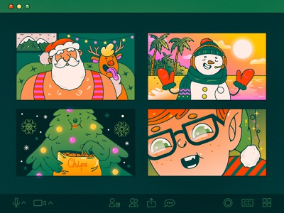 Remote New Year christmasiscanceled videocall video conference 2021 year new holidays winter new year 2021 remotework zoom christmas elf christmas tree snowman santa new year character design character illustration