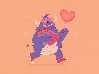 In Love procreate app procreate run arrow flowers purple valentine valentine day love day in love monster heart love flat character character design illustration design