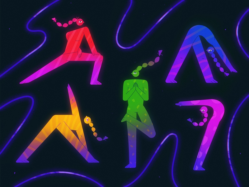 Yoga design illustration character design character flat yoga space neon grain