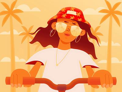 Summer Bike 🌴 character character design animation motion design vector illustration flat summer palm sundance warm bit video animation gif motion art girl bike smile hat