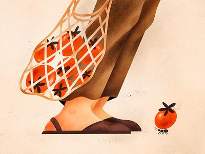 Tomatoes bag stringbag ant blog design red brown tomato foot grain texture character flat illustration