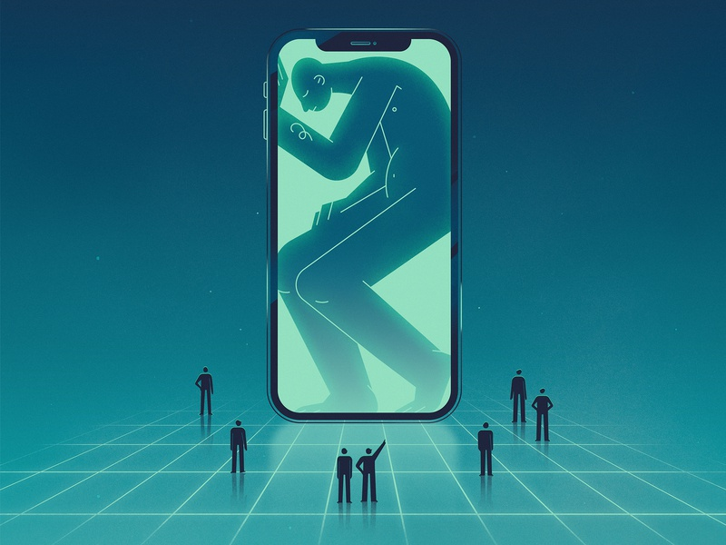 Dependence Monument flat texture character design light green character social problems blog monument people phone social profile man iphone x illustration design
