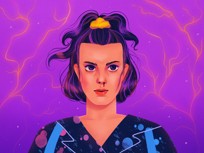 Eleven 80s style netflix eleven funart girl flat illustration texture 2d pink character characterdesign magic stranger things