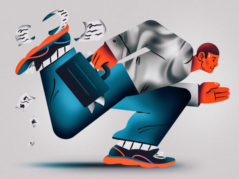 Run, Man, Run man workman worker run runner texture character design flat character illustration design