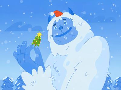 Yeti and Christmas tree character art motion design motiongraphics gif holiday christmas tree new year christmas yeti winter character animation vector animation flat character design character illustration