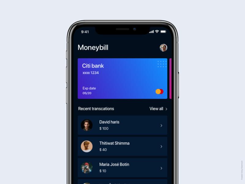 Moneybill concept $100 view all mobileapp debit credit earth money ios app uidesign dark ui card fintech human interface design ios dark fintech app