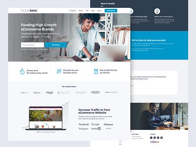 Clearbanc Ecommerce Page landingpage webdesign