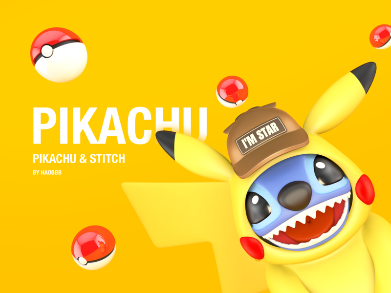 Pikachu & Stitch pikachu pocket monster lovely cartoon yellow c4d 游戏 插图 设计 stitch