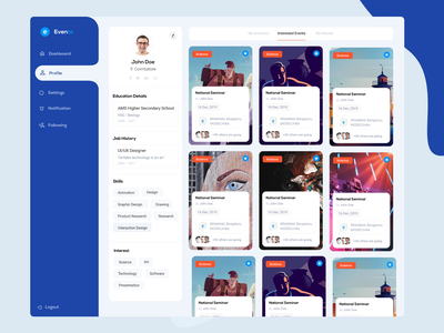 Event Management Web App typography create profile events app listing event listing activities event app event events settings profile page blue profile dashboard design dashb adobe xd ui-ux