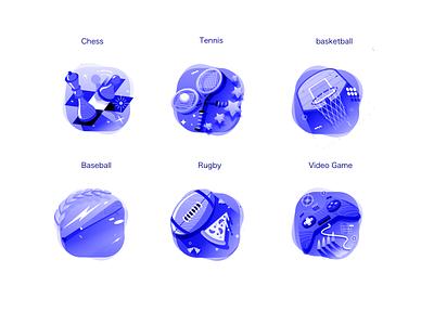 AssortedFinalGames flat icon design ui vector illustration sports icon gamification video games icons basketball icon baseball icon racket icon chess icon rugby icon rugby icon
