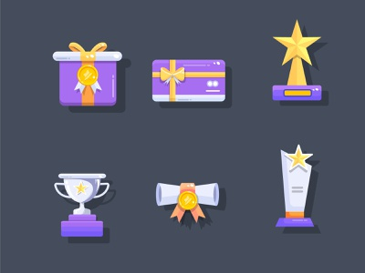 Rewards Set of Icons icon designer rewards flat icon design illustration vector gift card icon certificate icon prizes and rewards icon set award illustration award icon gift icons trophy icons prize icon rewards icon