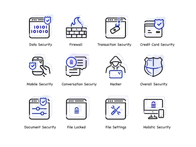 Cyber Security Icon Set - What's your feedback. 🕵🏼♂️ modern graphic design branding icons iconography ui flat icon illustration vector locked icon file settings outline icon document security outline icon mobile security outline icon hacker outline icon firewall outline icon data security outline icon