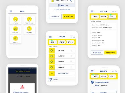 RFID App for Michelin design icon app user interface design ux ui mobile ui mobile app ui ux design mobile app ui app ui user flow app user flow