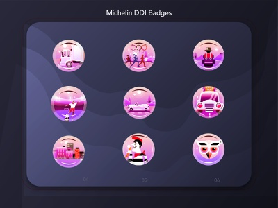 MIchelinDribble ux ui badges design vector illustrations/ui illustrations michelin gamification badges gamification gamification badges illustration